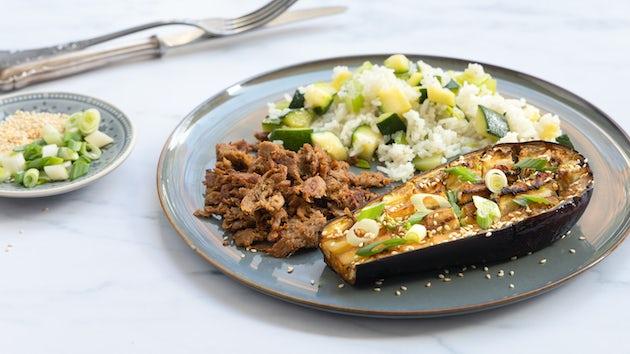 Pulled seitan met rijst en aubergine | Recept maaltijdbox