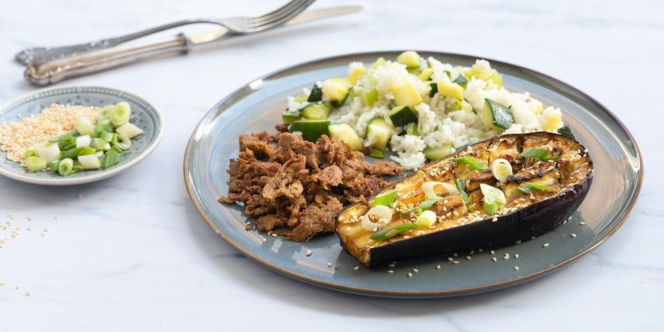 Pulled seitan met rijst en aubergine   Recept maaltijdbox