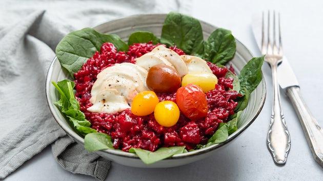 Bietenrisotto met tomaatjes, spinazie en mozzarella | Maaltijdbox recept