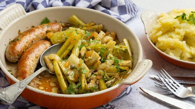 Rundersaucijs met puree en ovengroenten | Maaltijdbox recepten