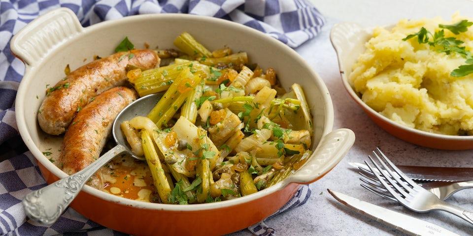 Rundersaucijs met puree en ovengroenten   Maaltijdbox recepten