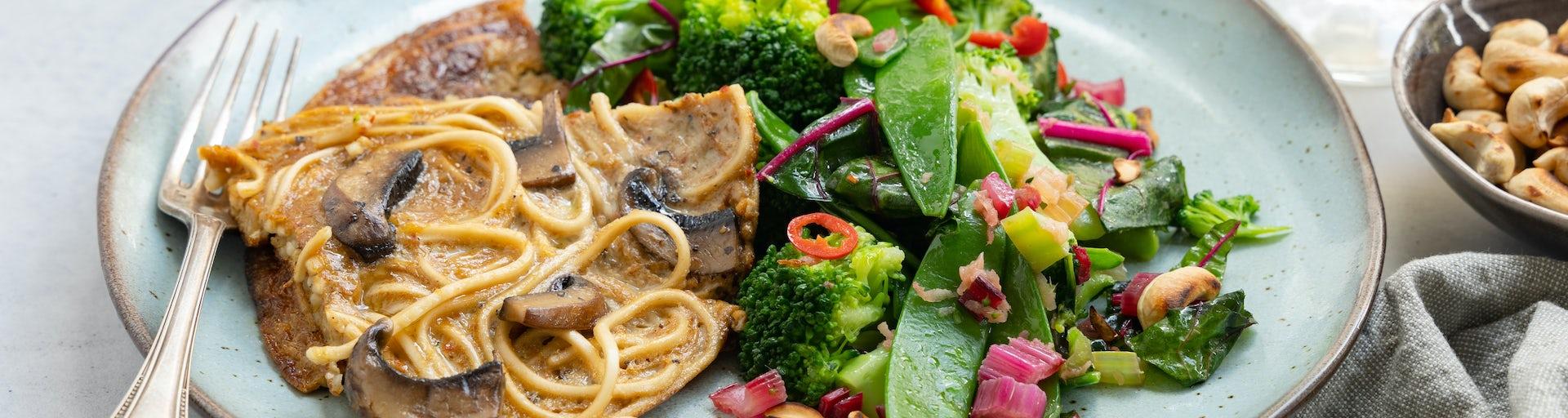 Portobello noedelomelet met roerbakgroenten en cashew | Maaltijdboxen recepten
