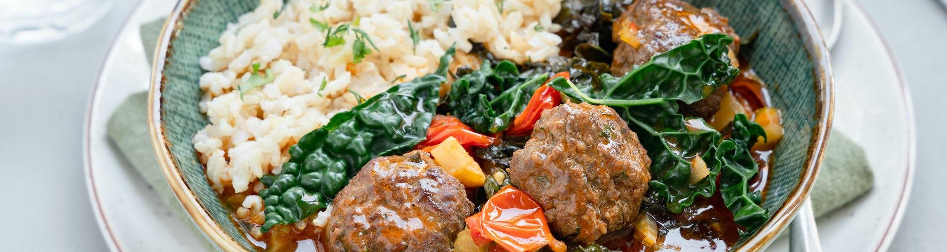 Midden Oosterse gehaktballetjes met palmkool en rijst | Maaltijdbox recepten