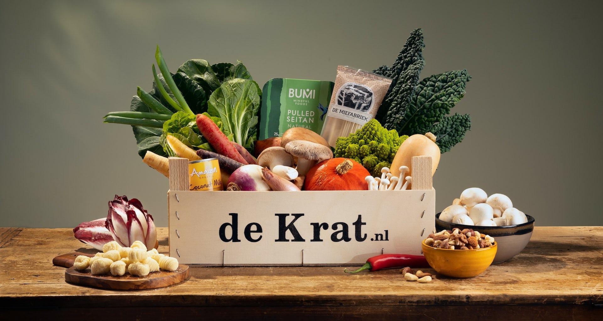 Vegan Krat productfoto maaltijdbox gesneden