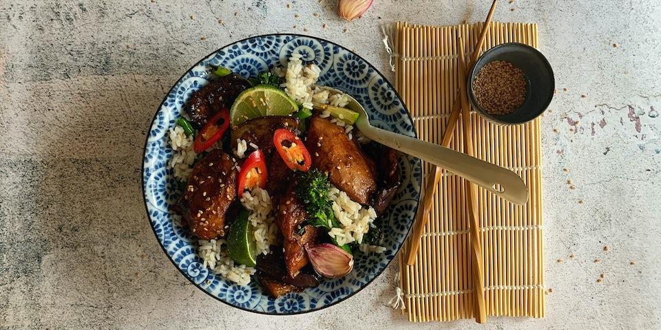 Week18 Chinese gesmoorde aubergine met geglaceerde kip en knoflooksesamsaus 3