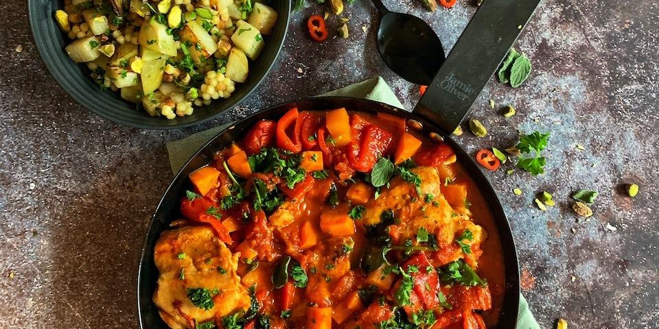 Week5 Gestoofde Marokkaanse kip met boerenkool en gepofte koolrabi 4