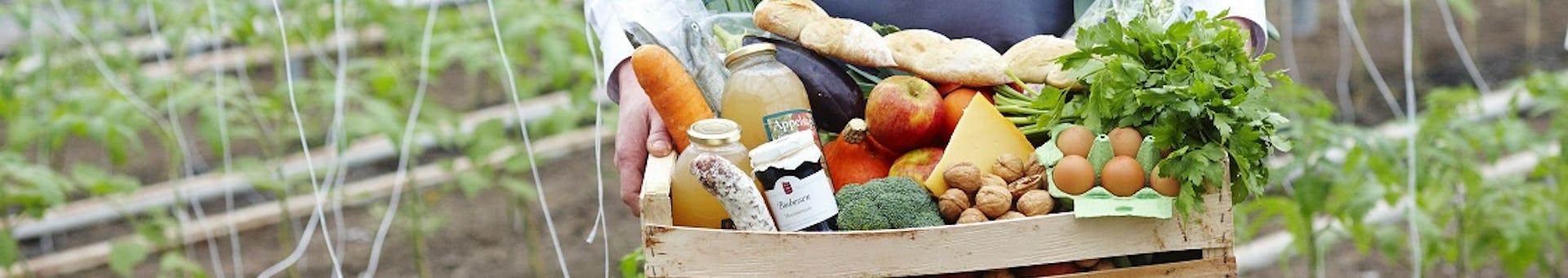maaltijdbox met verse groenten vastgehouden door teler