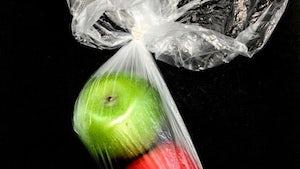 Appels in plastic verpakking