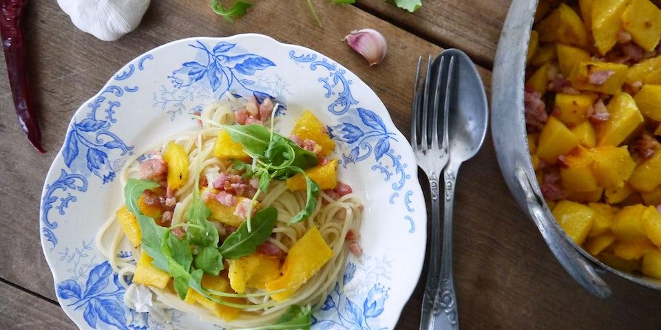 1844 Spaghetti Met Spek Chilivlokjes En Pompoen