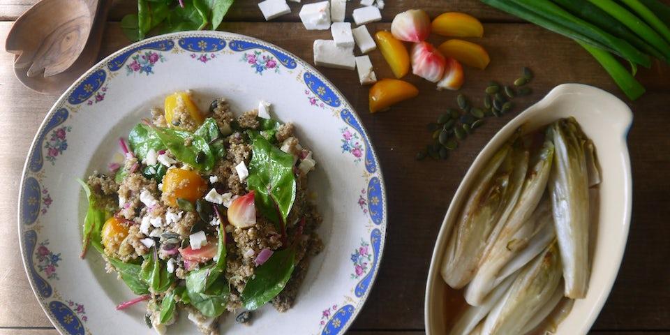 1967 Hollandse Quinoa Salade Met Minibietjes Feta En Gekarameliseerde Witlof
