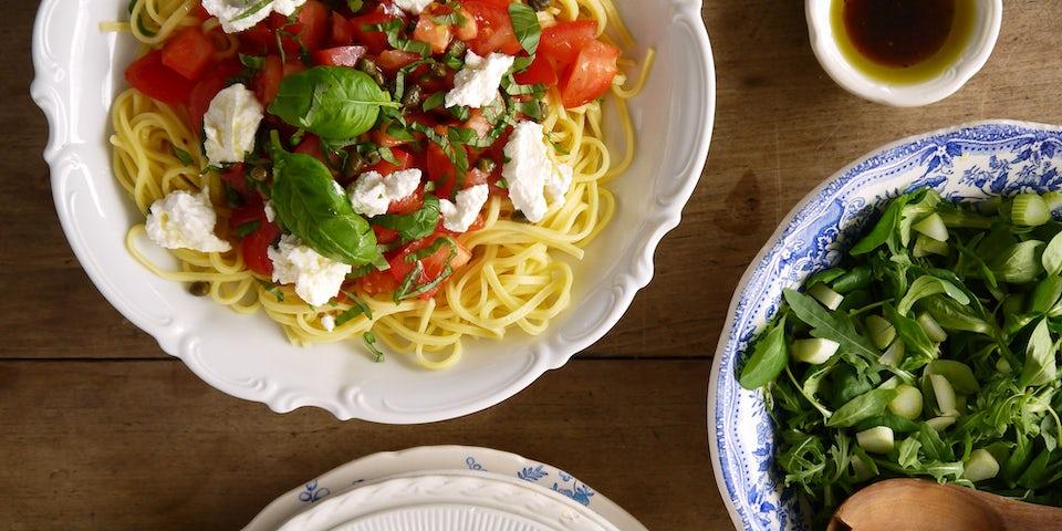 Maaltijdbox recept spaghetti met ricotta en cherrytomaat