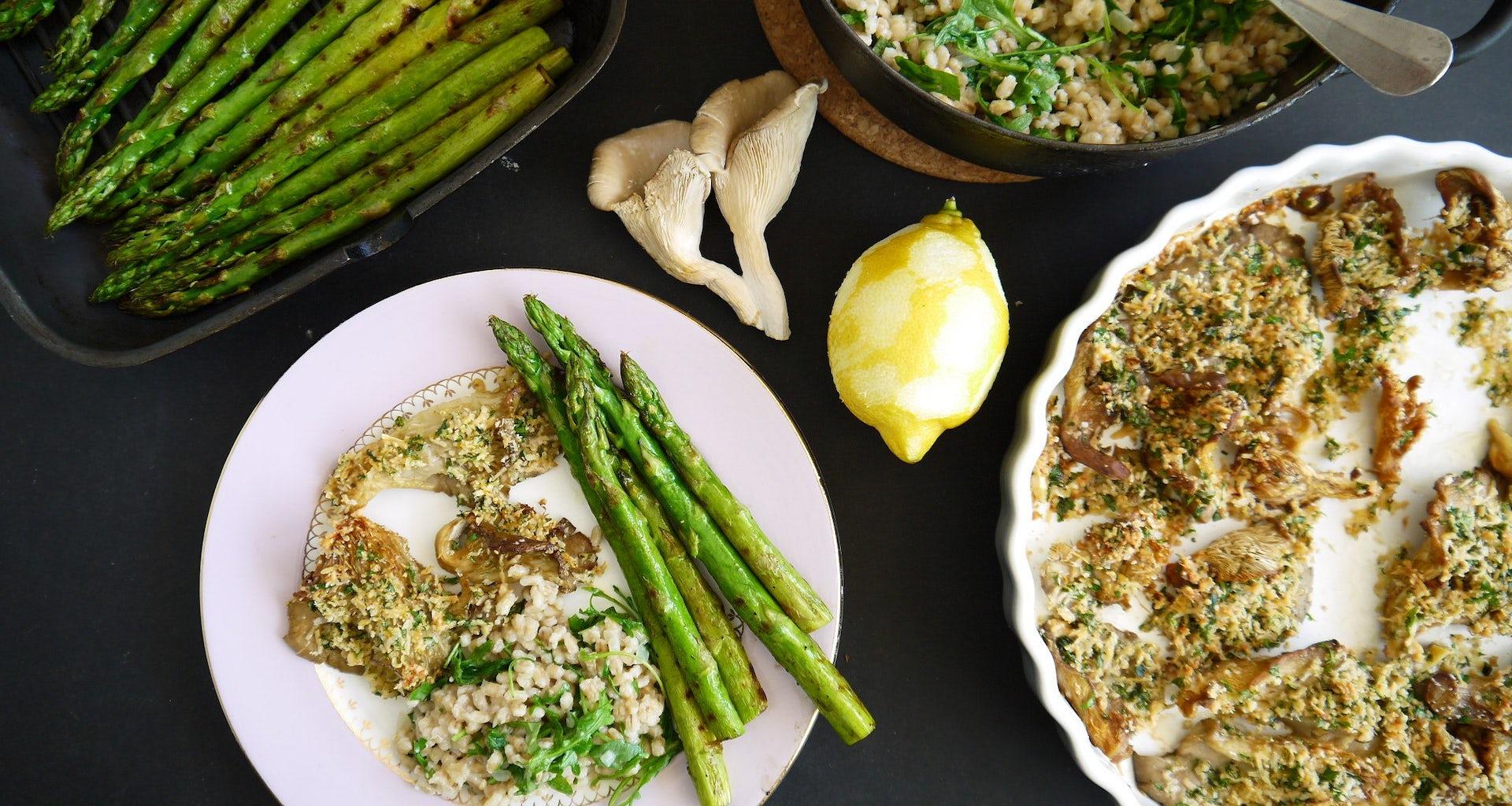 Recept parelgort groene asperges oesterzwam in de oven
