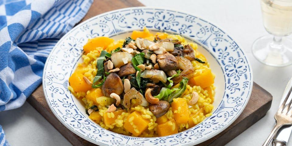 Pompoencurryrisotto met champignons en paksoi | maaltijdbox recepten