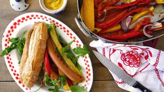Maaltijdbox recept broodje hotdog met gegrilde groenten