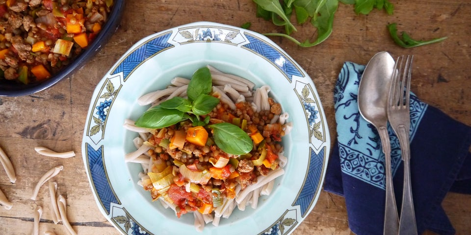 2557 Vegetarische Speltpasta Bolognese Met Linzen