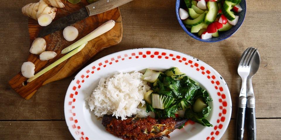 2969 Gerookte Makreel Met Indonesische Saus Rijst Geroerbakte Paksoi En Zoetzure Komkommer
