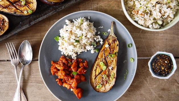 Kip met rijst en aubergine   Maaltijdboxen recept