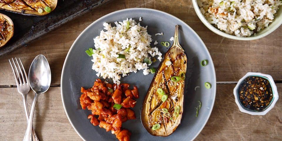 Kip met rijst en aubergine | Maaltijdboxen recept