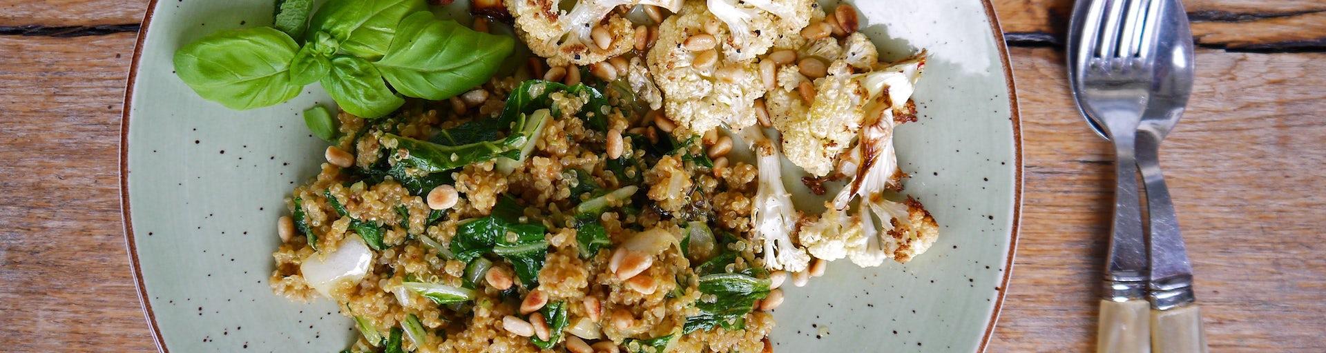 3190 Quinoa Met Geroosterde Bloemkool Snijbiet En Kokosmelk