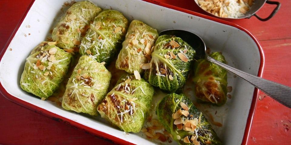 3491 Groene Koolrolletjes Met Spaghetti Amandelen En Parmezaan