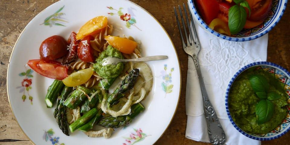 Maaltijdbox recept pasta met asperges en pesto