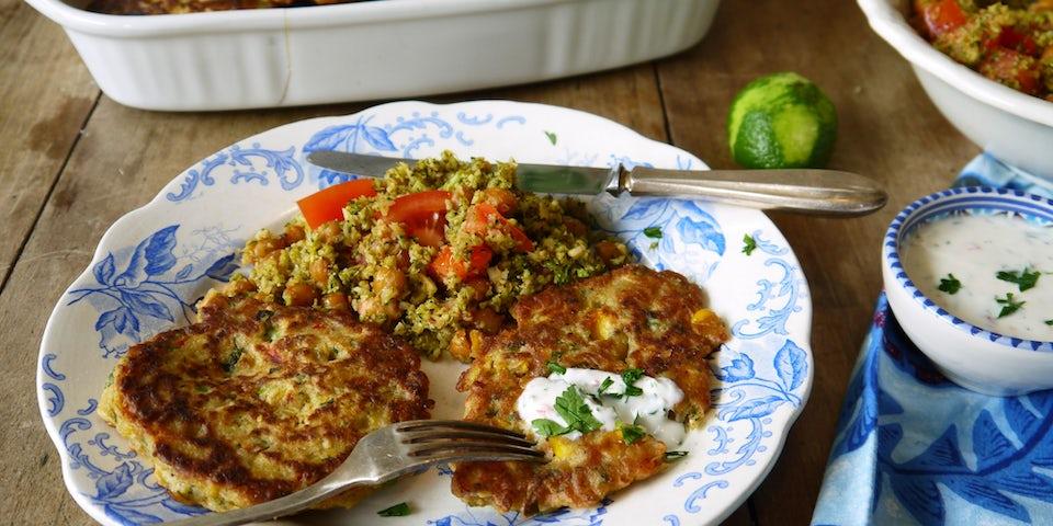 3715 Boekweit Mais Pannenkoekjes Met Broccoli Couscous Tomaat