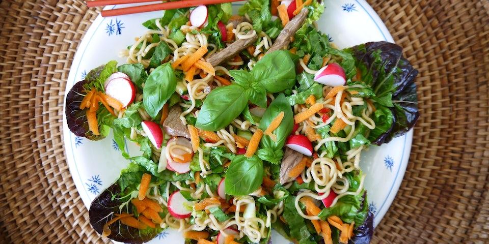3729 Biefnoedel Salade Met Krulandijvie Bindsla En Gemengde Basilicum