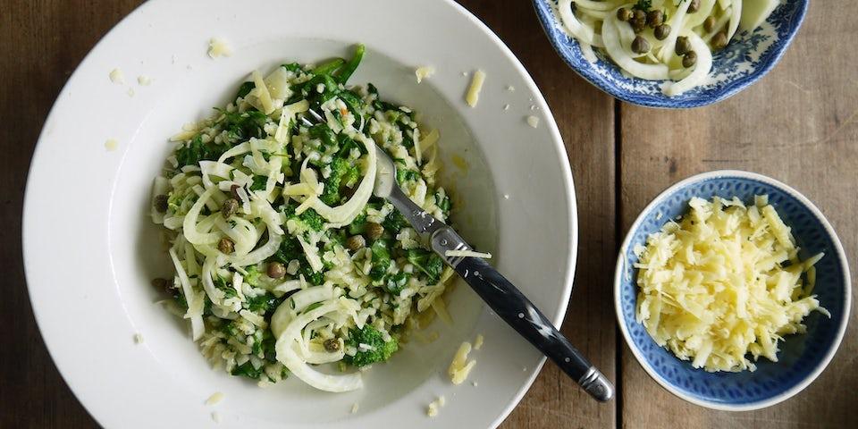 3857 Risotto Met Broccoli Nieuwzeelandse Spinazie En Venkelslaatje