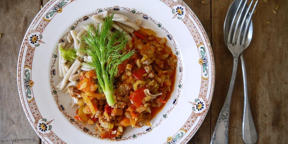 3874 Pasta A La Finocchia Met Venkelworst En Snijbiet