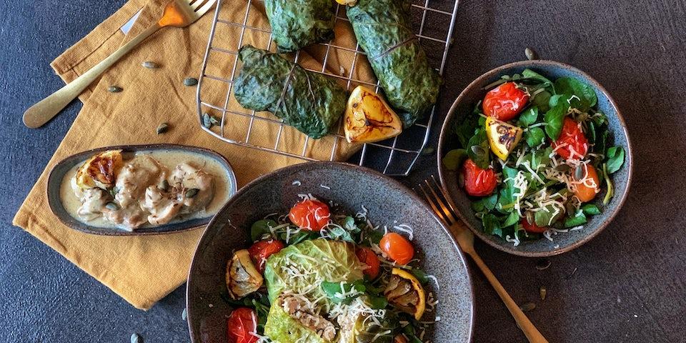 Week43 Snijbietrolletjes met bloemkoolrijst gesmoorde kip en pompoenpitjes 2