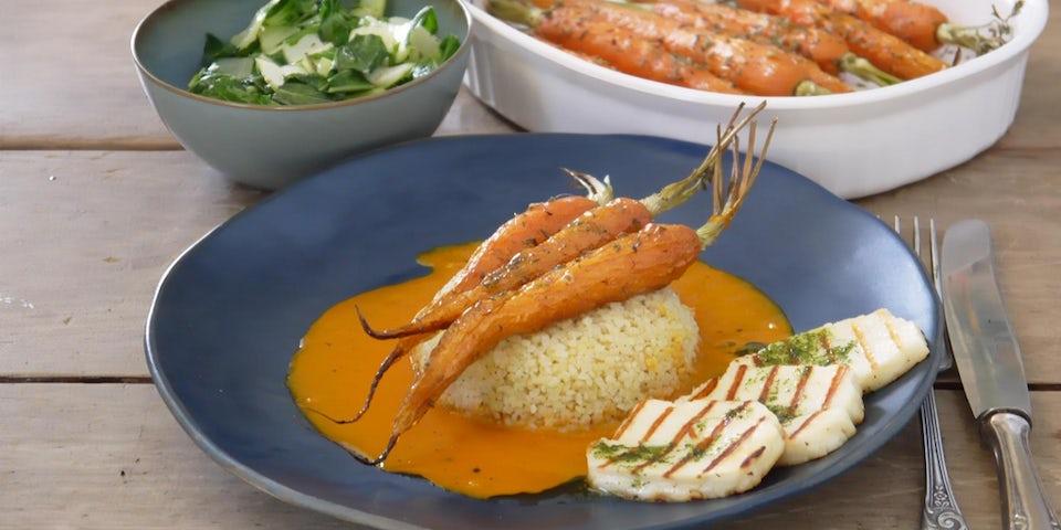 Maaltijdbox recept haloemi met peen worteljus bulgur en dragonolie
