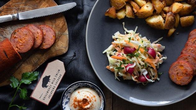 Wk 36 Grillworst met coleslaw en gebakken aardappelen