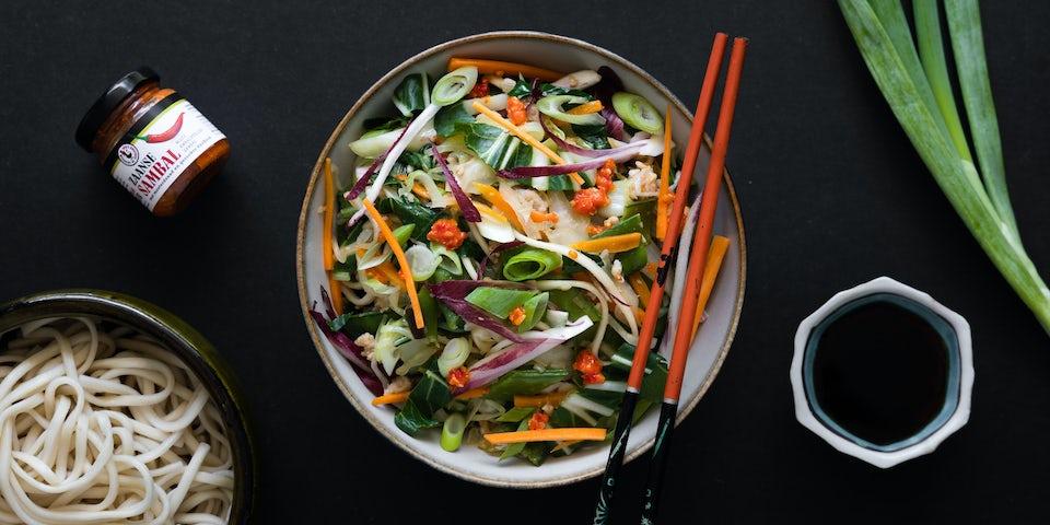 Wk 36 Noedels met veel groenten en kipgehakt