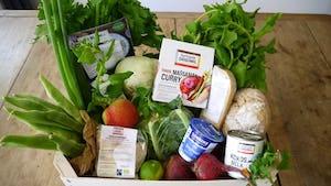 De vegetarische maaltijdbox met verse groenten