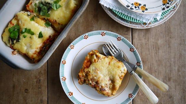 Lasagne vegetariano of pompoen zonder salade