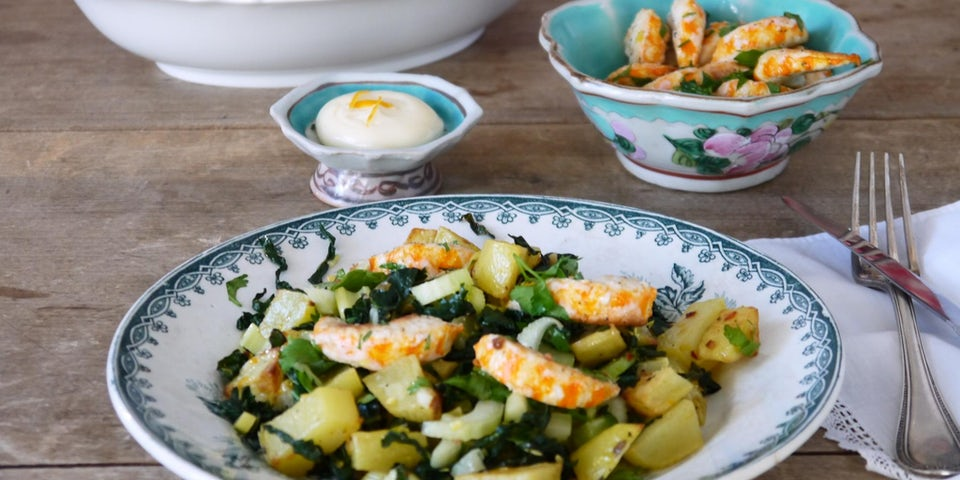 Wk 1 visvrije gambas met libanese citroen aardappel met bleekselderij en andijvie FP