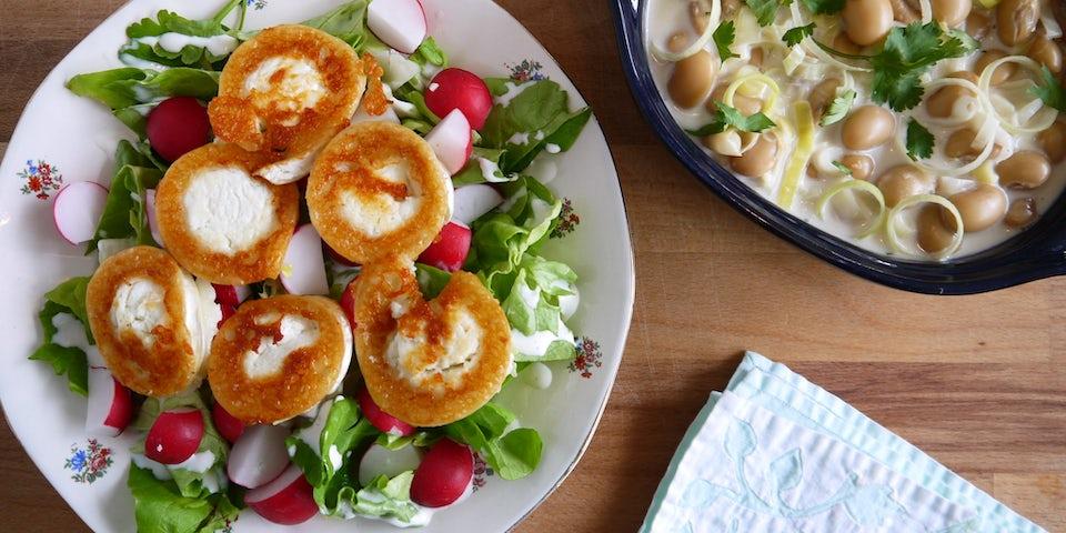 Wk 20 prei boterbonen gebakken geitenkaas salade