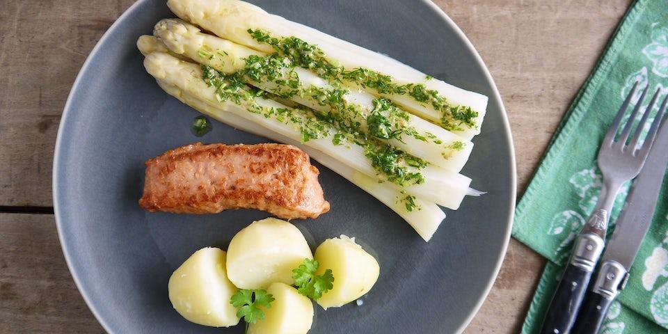 Wk 21 witte asperges So Fish salmon kruiden vinaigrette aardappels