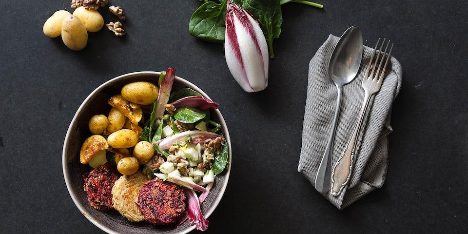 Maaltijdbox recept Sparc Kitchen groentemedaillons met salade