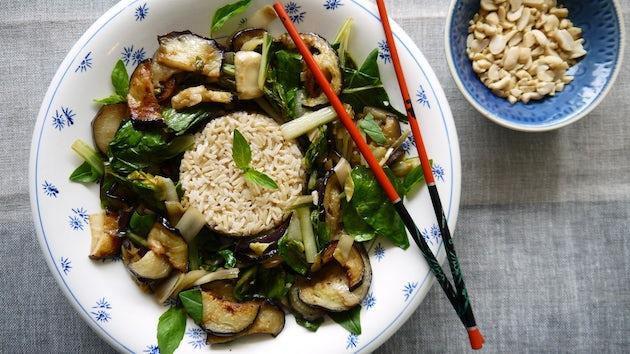 Gefrituurde aubergine met rijst   Maaltijdbox recept