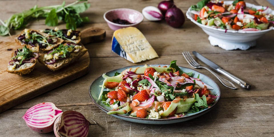 Wk 23 gemengde salade aardbei blauwschimmelkaas 2