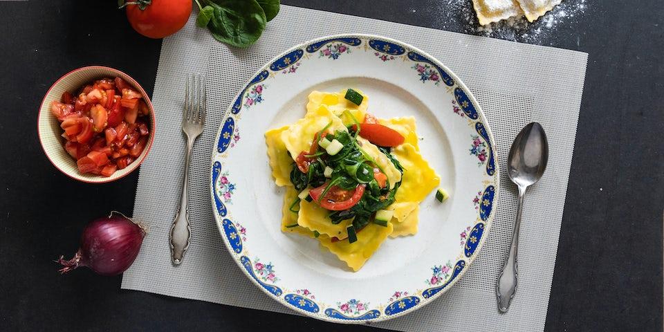 Wk 25 ravioli met tomaat en spinazie