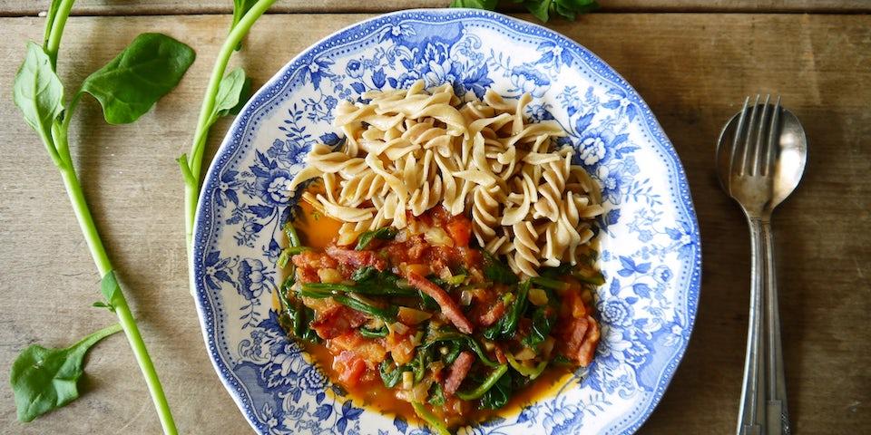 Wk 27 spek pasta nz spinazie tomaat etc