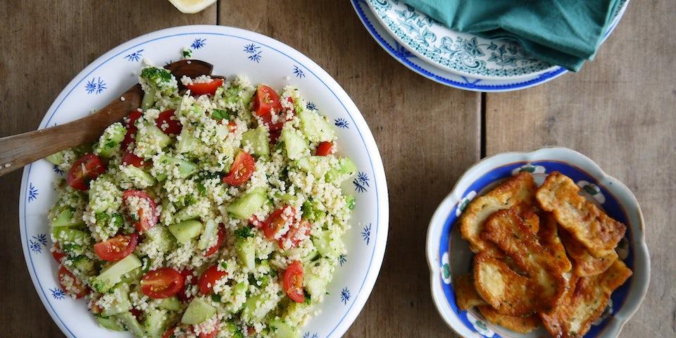 Wk 28 couscous broccoli tomaat halloumi