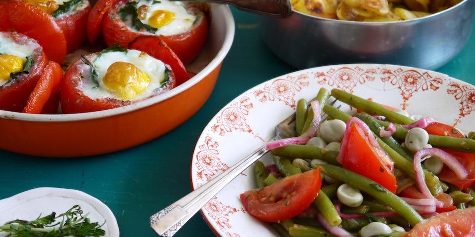 Wk 29 ei gevulde tomaat doperwten sperziebonen