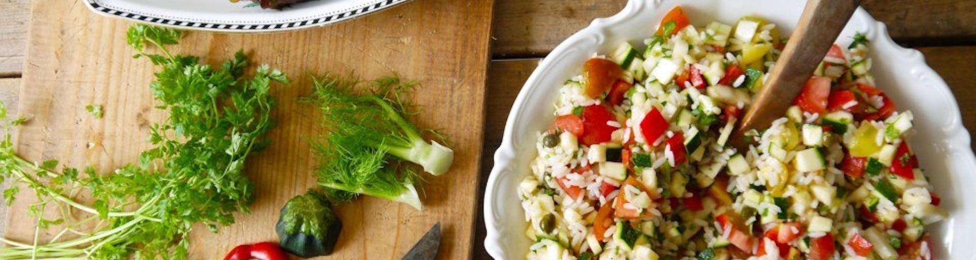 Wk 30 gegrilde portobello rijstsalade kervel
