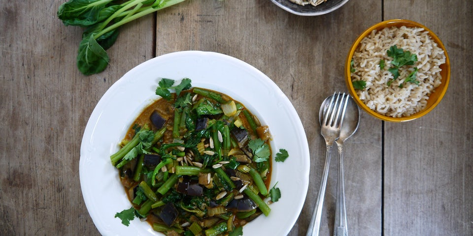 Wk 31 gele curry met wokmix boontjes aubergine