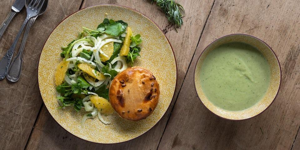 Wk 31 kippom pie broccoli waterkers soep en venkelsalade met sinaasappel