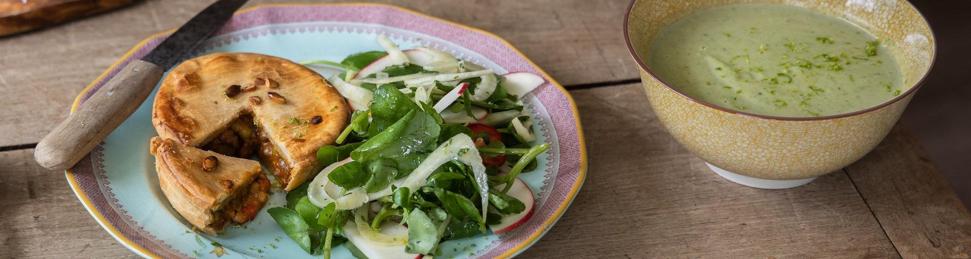 Wk 31 vegan pie met broccoli waterkers soep en salade FP