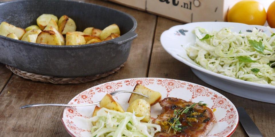Wk 36 varkenslapje sinaasappel spitskool venkel aardappel fp1